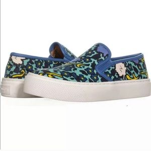Coach Cameron Blue Floral Slip On Loafer Sneakers